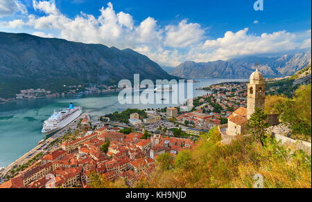 Panoramic view of Kotor Bay, Montenegro - Stock Photo