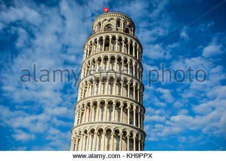 The leaning bell tower of Pisa on the Piazza dei Miracoli in the Tuscany region of Italy - Stock Photo