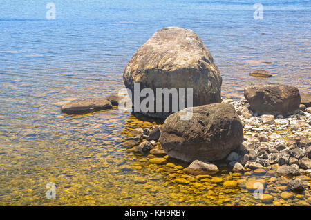 Stones in crystal clear water of alpine lake in summer for Landscaping rocks tasmania