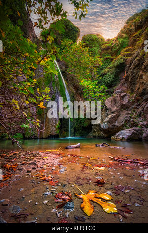 Waterfall in the gorge of Richtis at autumn, Crete, Greece.