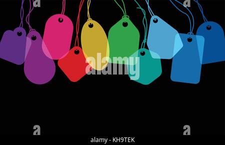 Colorful blank price tags or address labels with various string tying on black background - Stock Photo