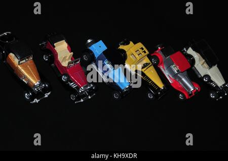 collection of vintage cars model are arranged to create innovative image - Stock Photo