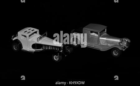 two isolated vintage car models - Stock Photo