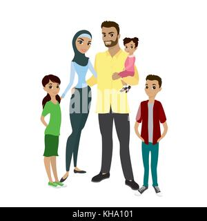 Happy muslim family- parents,their son and daughters. Cartoon Vector illustration isolated on white background - Stock Photo