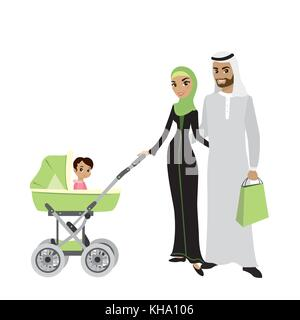 Beauty Arab family couple with a baby in a stroller,isolated on white background,cartoon vector illustration - Stock Photo