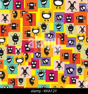 Funny and crazy monsters seamless pattern,stock vector illustration - Stock Photo