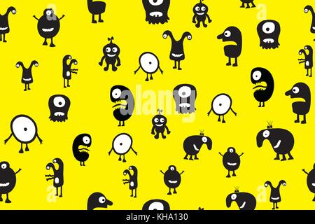 Seamless pattern black monsters with emotions on yellow background, cartoon vector illustration - Stock Photo