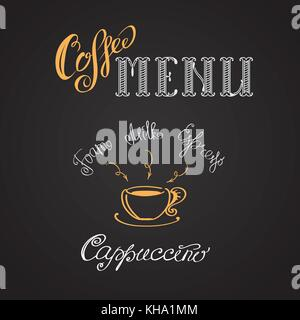Coffee cappuccino, hand drawing vector illustration - Stock Photo