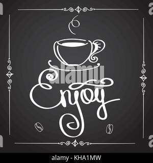 Enjoy coffee, logo or background, vector illustration - Stock Photo