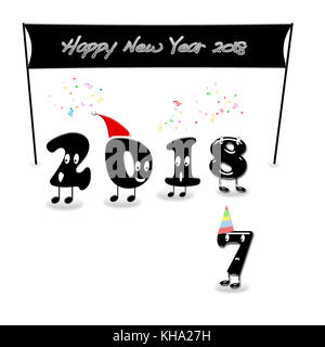 Cartoon of 2018 numerals with text Happy New Year. 3d rendering. - Stock Photo