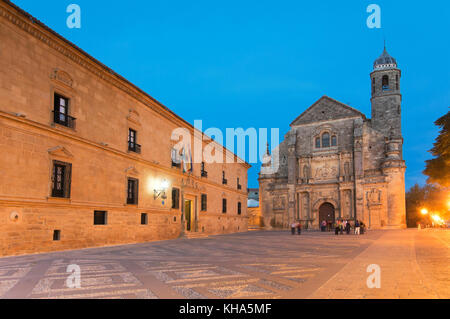 Church of El Salvador and the palace of Dean Ortega (Parador - Hotel) in the Plaza Vazquez de Molina - 16th century, - Stock Photo
