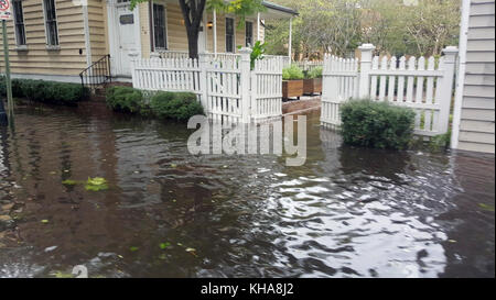 After the rains have passed through Edisto Beach, Edisto Island, SC, the area now faces the flooding and damage - Stock Photo