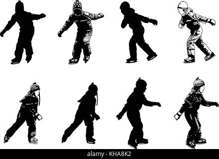 ice skating kids silhouettes - vector - Stock Photo