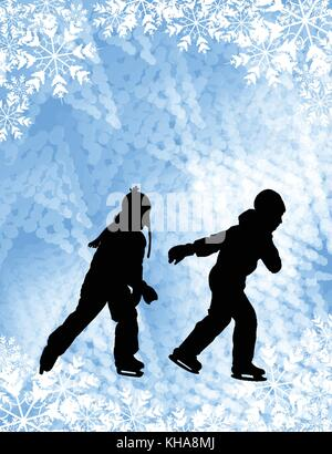 Kids ice skating silhouettes on the abstract background - vector - Stock Photo