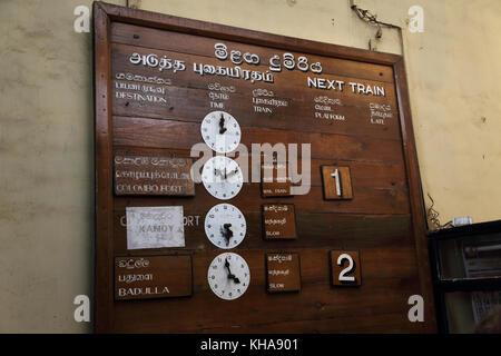 Peradeniya Junction Station Kandy Central Province Sri Lanka Train Times - Stock Photo