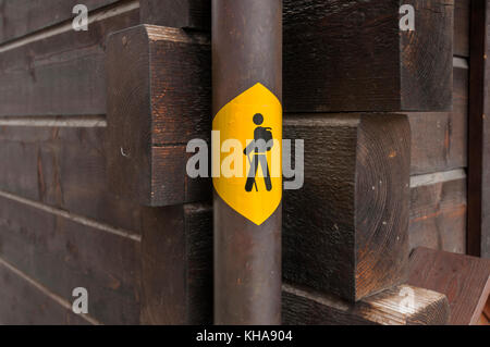 Switzerland, Valais canton, region of Sierre, Val d'Anniviers, listed village of Grimentz. Hiking path sign. - Stock Photo