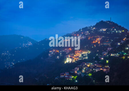 Night view of Shimla town, Himachal Pradesh, India - Stock Photo