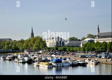 France, region of Pays de La Loire, Loire-Atlantique department, Nantes city, boats moored on canal of Saint-Felix. - Stock Photo