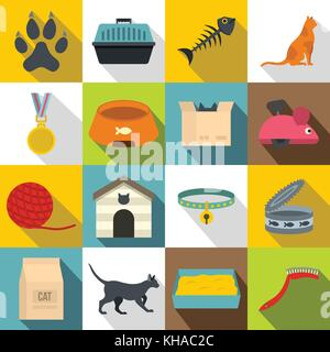 Cat care tools icons set, flat style - Stock Photo