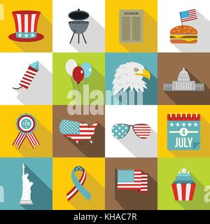 Independence day flag icons set, flat style - Stock Photo