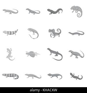 Lizard icons set, monochrome style - Stock Photo
