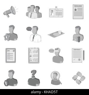 Human resources icons set, flat style - Stock Photo