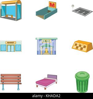 Infrastucture of the city icons set, cartoon style - Stock Photo