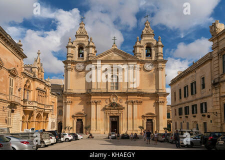 St. Paul's Cathedral, Mdina, Malta - Stock Photo