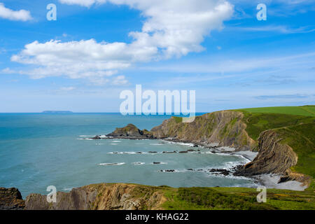Rocky coast, near Hartland Quay, Hartland, island Lundy, Devon, England, Great Britain - Stock Photo