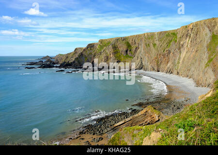 Rocky coast, Warren Beach near Hartland Quay, Hartland, Lundy Island, Devon, England, Great Britain - Stock Photo
