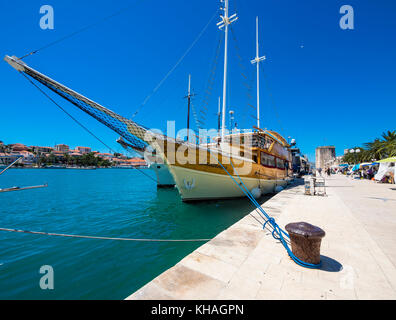 Old sailing schooner on the Riva Promenade, Old Town Trogir, UNESCO World Heritage Site, Region Split, Middle Dalmatia, - Stock Photo