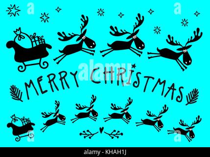 Santa Claus sleigh with reindeer for Christmas cards, hand drawn vector illustration - Stock Photo