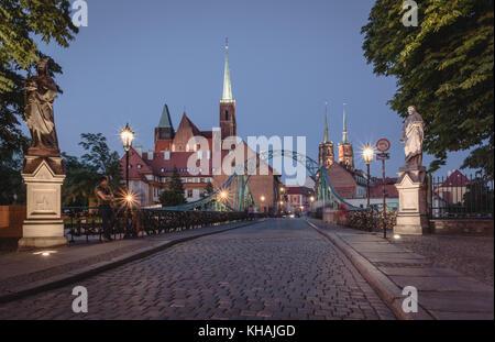 Tumski Bridge in Wroclaw - Stock Photo