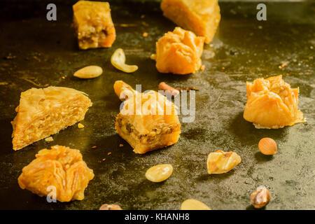 Sweet turkish and arabian Baklava on tablet - Stock Photo