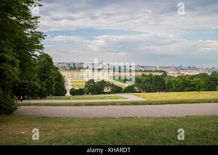 Schonbrunn Palace with the Skyline, view from hill, Vienna Austria 7.July.2017 - Stock Photo
