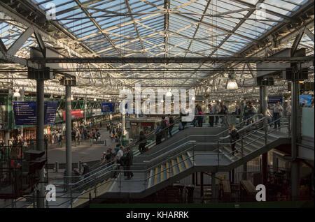 The general concourse at Waverley Station in summer evening light, Edinburgh,Scotland,UK - Stock Photo