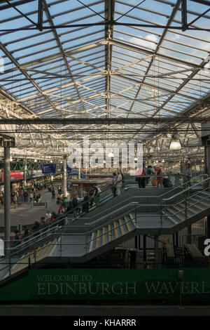 The general concourse at Waverley Station in summer evening light, Edinburgh,Scotland,UK - Stock Photo