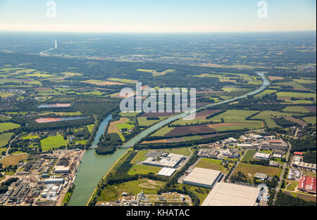 Node to the Midland Canal, sluice at the Dortmund-Ems Canal, canal junction, on the wet triangle Ibbenbueren, North - Stock Photo
