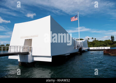 U.S.S. Arizona Memorial  in Pearl Harbor, Honolulu, Hawaii - Stock Photo