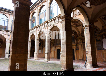 BOLOGNA, ITALY -FEBRUARY 08, 2017:  courtyard of Archiginnasio palace , University of Bologna - Stock Photo