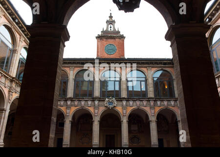 BOLOGNA, ITALY -FEBRUARY 08, 2017: tower and courtyard of Archiginnasio palace , University of Bologna - Stock Photo