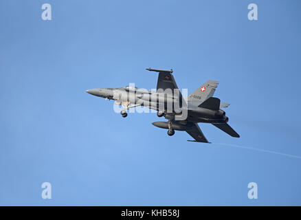 Swiss Air Force McDonnel Douglas F18C/A Hornet Fast Twin Engined Jet Fighter Aircraft.on 4 week pilot training exercise. - Stock Photo