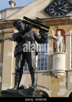 Staue Of Charles Stewart Rolls,founder of Rolls Royce and King Henry the Fifth,at Shire Hall,In Agincourt Square, - Stock Photo