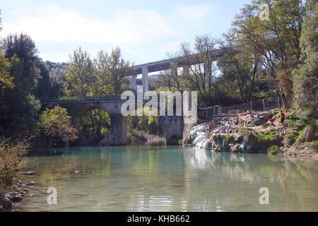 Bagni di Petriolo, the hot springs on the River Farma, district of ...