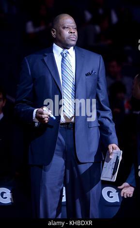 Washington, DC, USA. 12th Nov, 2017. 20171112 - Georgetown head coach PATRICK EWING is seen before the start of - Stock Photo
