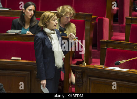 Paris, France. 15th Nov, 2017. French Minister of the Armed Forces Florence Parly seen attending a session of questions - Stock Photo