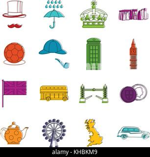 Great Britain set , outline style - Stock Photo