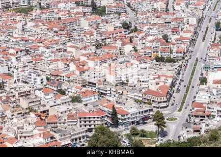 Panoramic view of Nafplio town seen from Palamidi Castle, Greece - Stock Photo