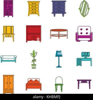 Furniture icons doodle set - Stock Photo
