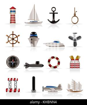 Marine, Sailing and Sea Icons - Vector Icon Set - Stock Photo